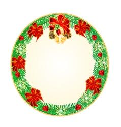 Button circular christmas spruce lucky symbols vector