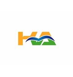 KA negative space letter logo blue vector image