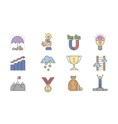 Business success icons set vector