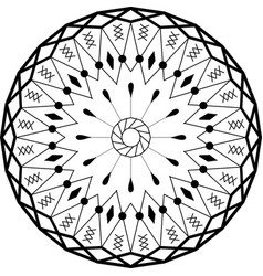 Outline mandala round ornament vector