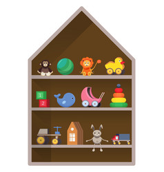 Kids shop shelf with toys colorful childish vector