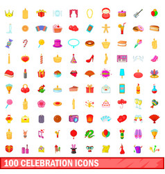 100 celebration icons set cartoon style vector image
