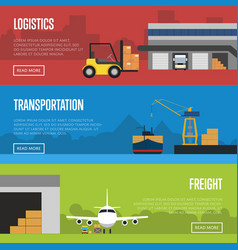 Logistics and freight transportation banner set vector