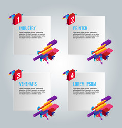 four infographic papers with text and titles vector image