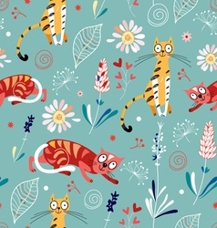 pattern of plant and cats vector image