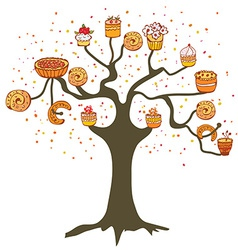 Tree with cakes - concept for the bakery vector image
