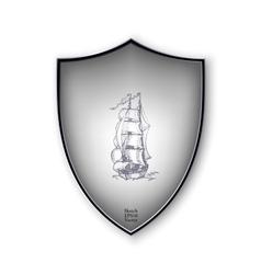 Sailing ship on the shield format vector image