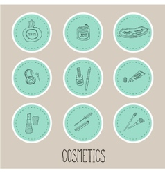 Set a stickers of beauty and cosmetics icons vector image
