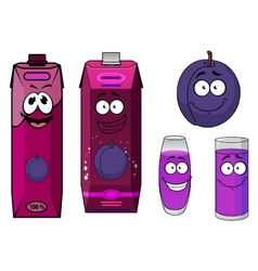 Plum fruit and juice drinks with happy face vector