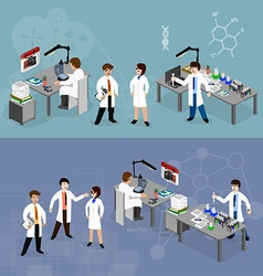 Scientists in lab with making research vector