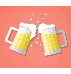 Clink beer mugs vector