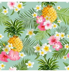 Tropical flowers and pineapples background vector