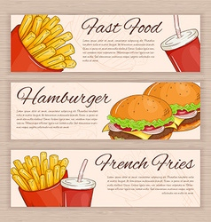 Set of hand drawn fast food banners with french vector