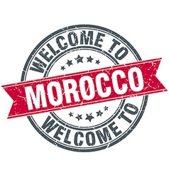 Welcome to morocco red round vintage stamp vector