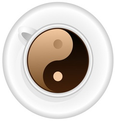 Cup of coffee with Yin Yang symbol vector image