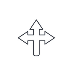 arrow cross three way thin line icon linear vector image vector image