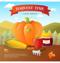 Autumn Harvest Time Flat Poster vector image vector image