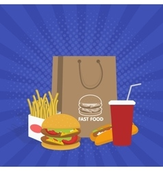Banner with fast food with cola hamburger and vector image vector image