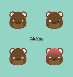 Bear face expression vector