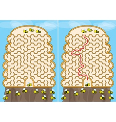 Bees maze vector image vector image