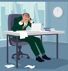 Businessman grabbed his head in despair in office vector