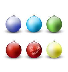 christmas balls decoration icon set vector image