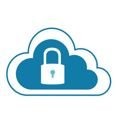 color silhouette with cloud service with padlock vector image vector image