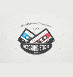 color sticker studio recording and music shop vector image
