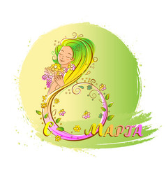 Colored 8 march concept with beatiful woman vector