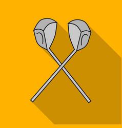 crossed golf clubs icon in flat style isolated on vector image