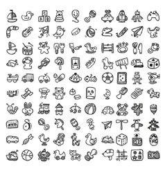 Doodle toys icon set vector image vector image