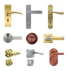 Door handle realistic set vector
