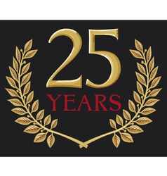 golden laurel wreath twenty five years anniversary vector image vector image