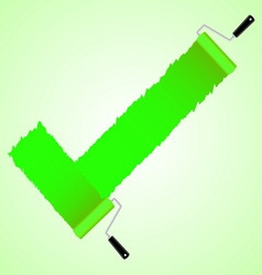 Green check symbol from paint roller brush vector image