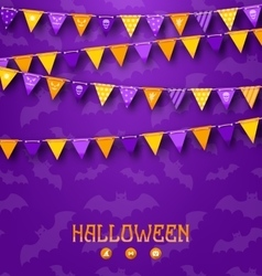 Halloween party background with colored bunting vector
