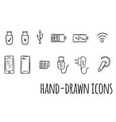 Hand drawn technology icons vector image vector image