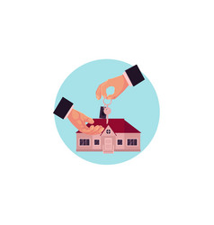 hand gives the key of house to another hand vector image vector image