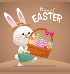 Happy easter card bunny carrying basket egg vector
