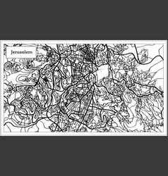 Jerusalem israel city map in black and white color vector