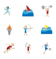 Kind of professional sports icons set vector