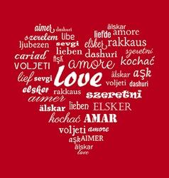 Love heart calligraphy word vector