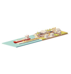 Low poly lng terminal and lng carrier ship vector