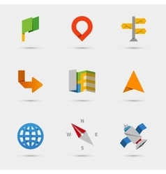 Map location and navigation icons in flat paper vector
