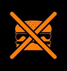 no burger sign orange icon on black background vector image