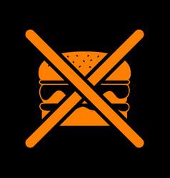 No burger sign orange icon on black background vector