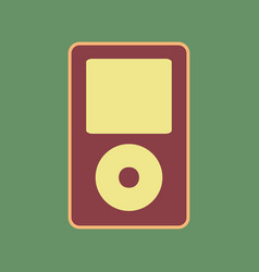 Portable music device cordovan icon and vector