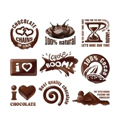 Set chocolate logos and labels vector