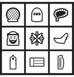 Set of black and white icons arab emirates vector