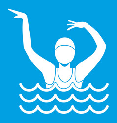 Swimmer in a swimming pool icon white vector