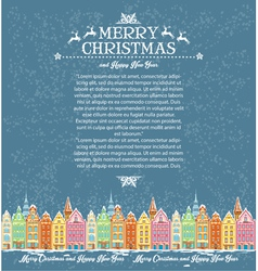 Template of Christmas cards with snowy old town vector image
